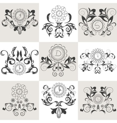 Set of emblems floral ornament vector image