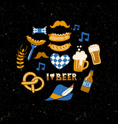 set of hand drawn traditional beer fest vector image