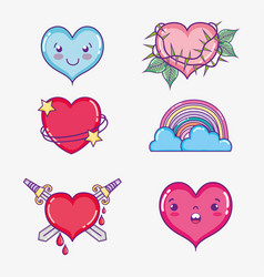 set of love and hearts cartoons vector image