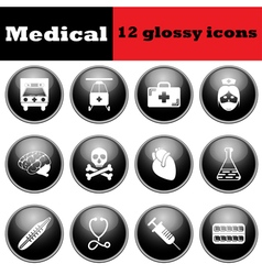 Set of medical glossy icons vector image