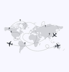 Set planes path with location pins map vector
