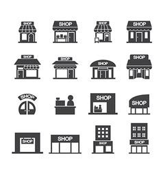 shop building icon set vector image