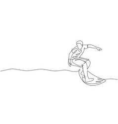 single continuous line drawing young professional vector image