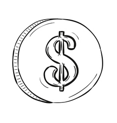 sketch of coin vector image