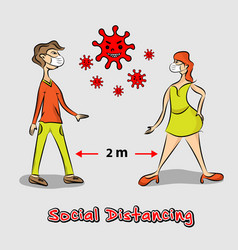 Social distancing man with women wearing face mask vector