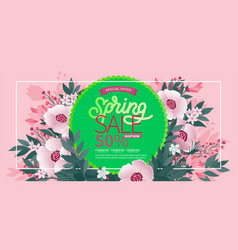 spring background with green leaves and flowers vector image