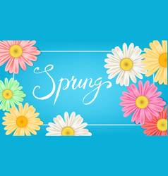 Spring banner hand drawn lettering background vector