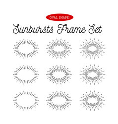 sunbursts frame set oval shape vector image