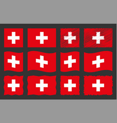 switzerland flag set official vector image