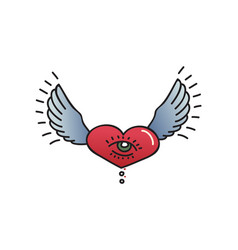 tattoo heart with wings on white background vector image