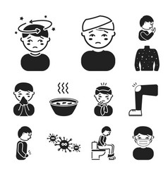 The sick man black icons in set collection for vector