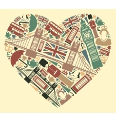 The symbols of the UK in the shape of a heart vector image