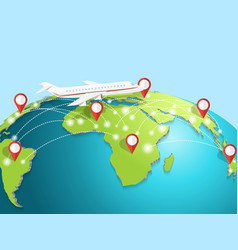 Travelling airplane around globe vector