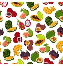 Tropical sweet fruits seamless pattern vector image