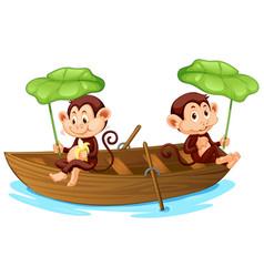 Two monkeys rowing boat in river vector