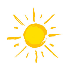 Typical drawn yellow sun vector