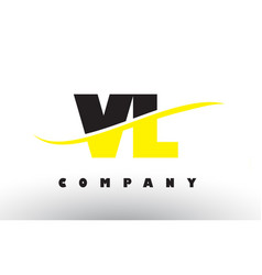 vl v l black and yellow letter logo with swoosh vector image