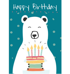 White polar bear holding a birthday cake idea for vector