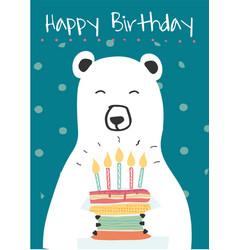 White polar bear holding a birthday cake idea vector