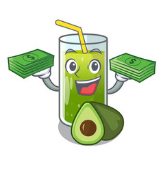 with money bag avocado smoothies are isolated on vector image
