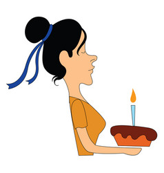 Woman holding cake on white background vector