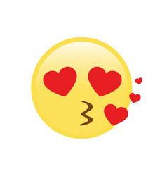 Yellow kissing face with heart eyes flat icon vector