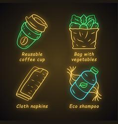 zero waste swaps handmade neon light icons set vector image