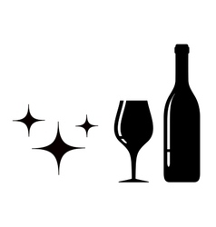 bottle and glass black silhouette vector image vector image