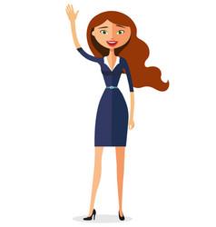 Carroty woman waving her hand flat cartoon vector