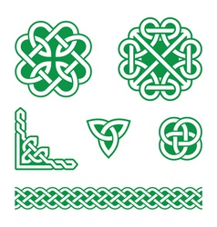 Celtic knots green patterns - vector image vector image