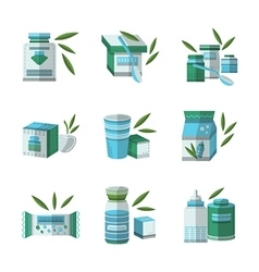 Flat color icons set for baby food vector