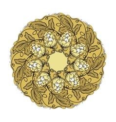 Hand drawn mandala with hop floral ornament vector image vector image