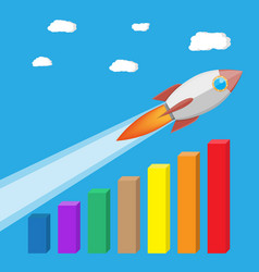 rocket flying up on growth chart vector image vector image