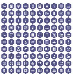 100 hardware icons hexagon purple vector