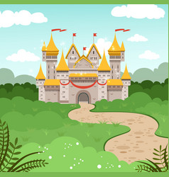 fantasy landscape with fairytale castle vector image vector image