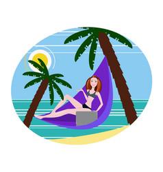 Girl freelancer working on the beach vector