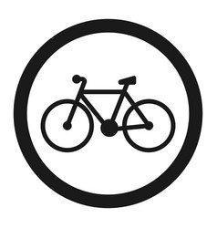 no bicycle bike prohibited sign line icon vector image