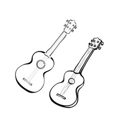 set of hand drawn ukuleles in sketch style vector image