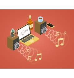Sound wave from the two speakers note icons and vector image