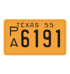 Texas 1955 license plate vector image vector image