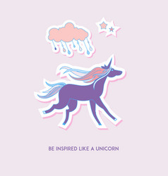 Unicorn set stickers with unicorn cloud and stars vector