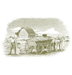 Woodcut Hay Farmer vector image vector image