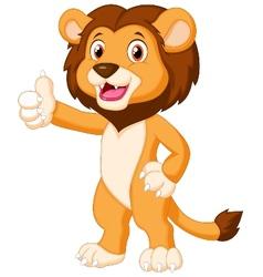 Cute lion cartoon giving thumb up vector image vector image