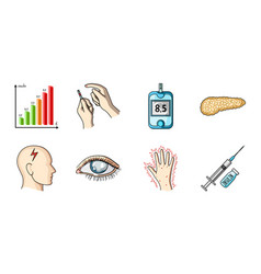 diabetes icons in set collection for design vector image vector image