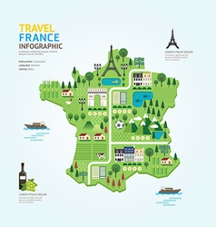 Infographic travel and landmark france map shape vector