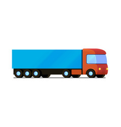 isolated red truck with blue cargo trailer vector image vector image