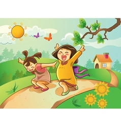kids playing on the garden vector image