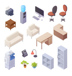 office interior isometric elements vector image vector image