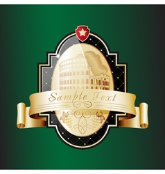 Ornate label with the sightseeing on the Colosseum vector image