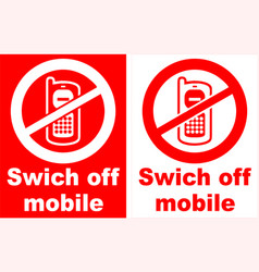 turn off mobile phone sign vector image